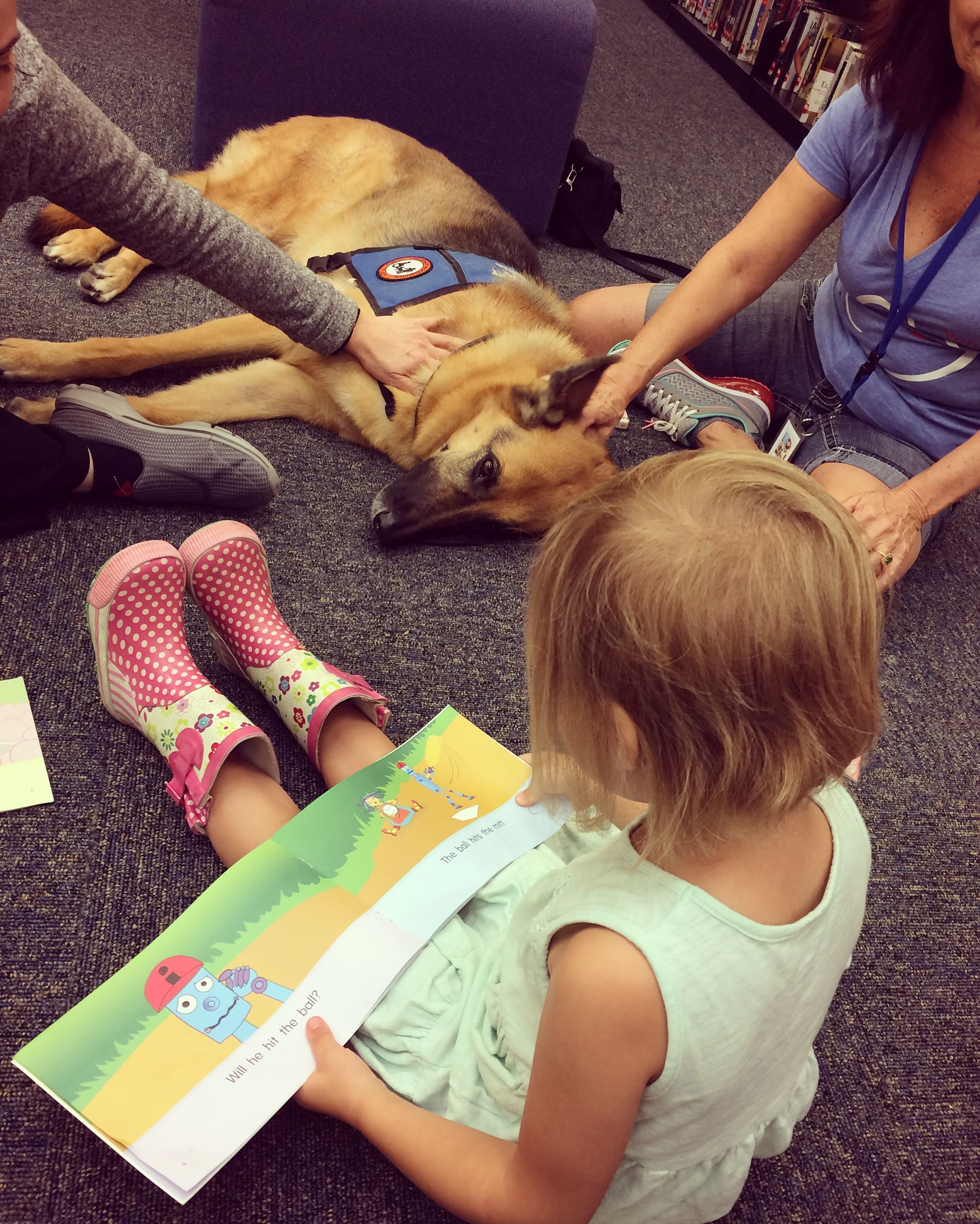 Girl reading to golden retriever