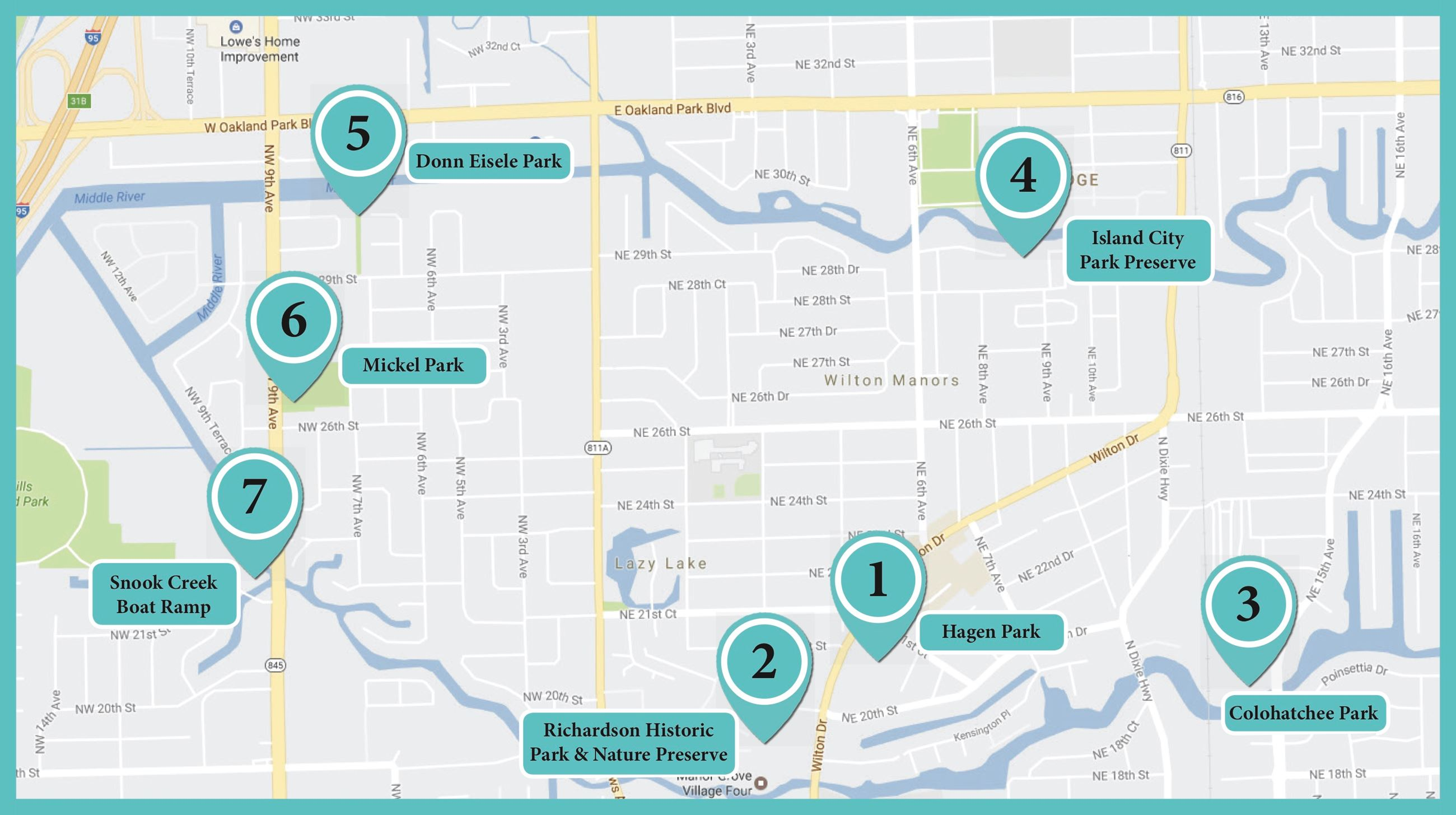 Self-Guided Nature Tour | Wilton Manors, FL - Official Website on city street map of wilton, city of wilton manors employment, wilton manors florida map,