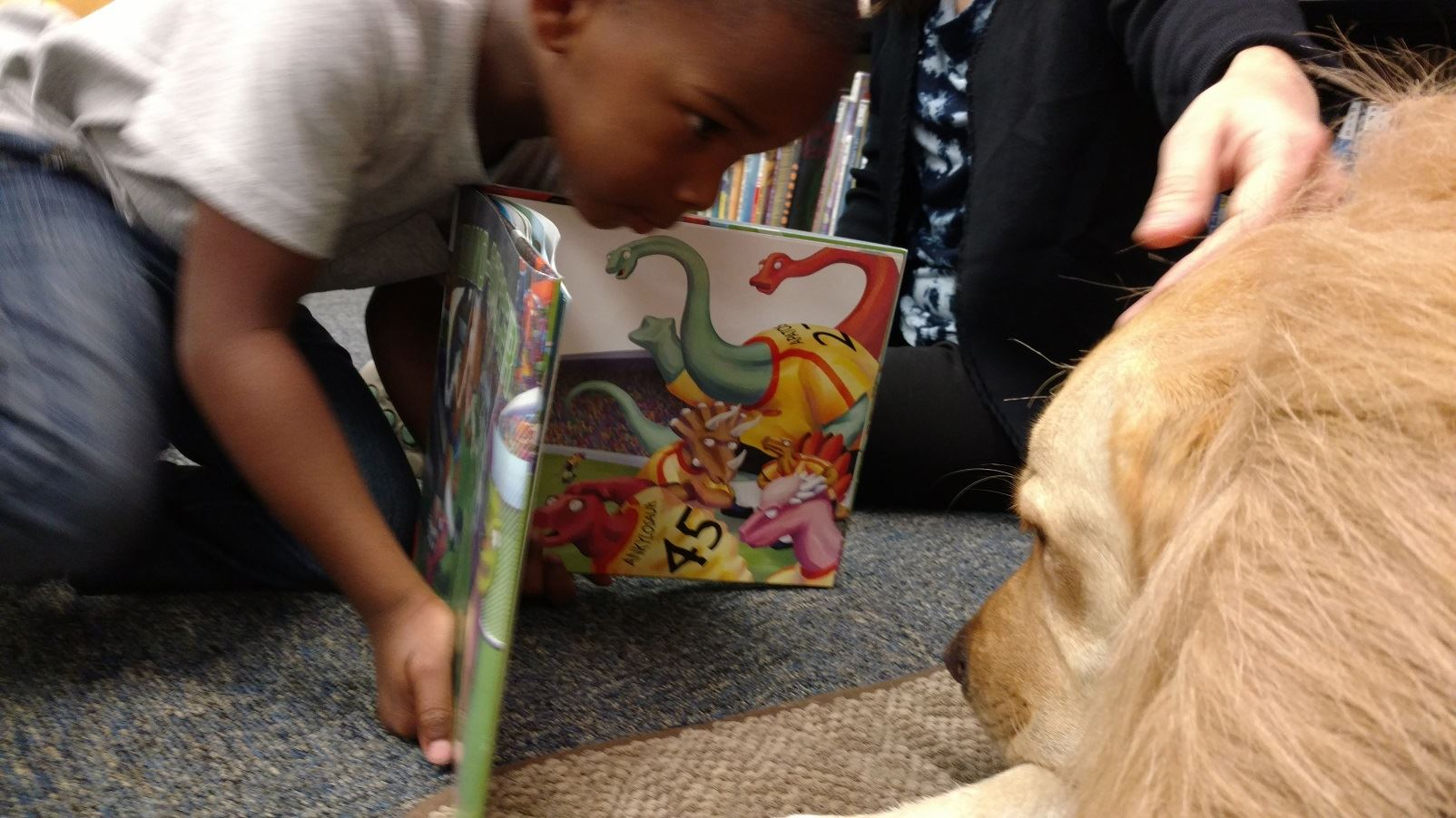 Child showing picture book to dog.