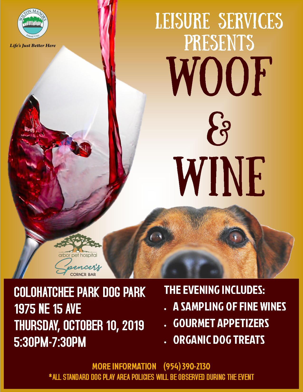 Woof and Wine Flyer.