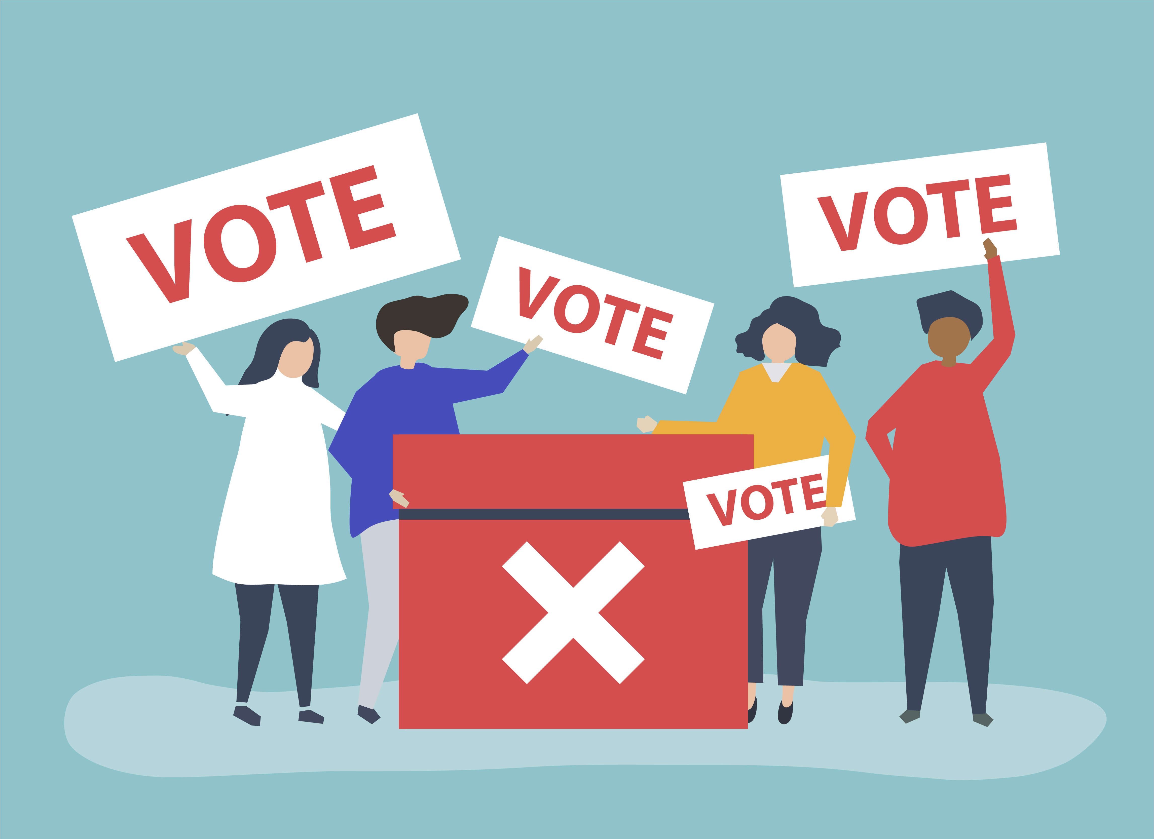 clip art photo of group of people voting