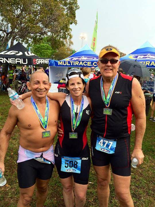 Tomas Soto, Vice Mayor Julie Carson, and Pride Center CEO Robert Boo at the Egg Hunt Triathlon April 19, 2014
