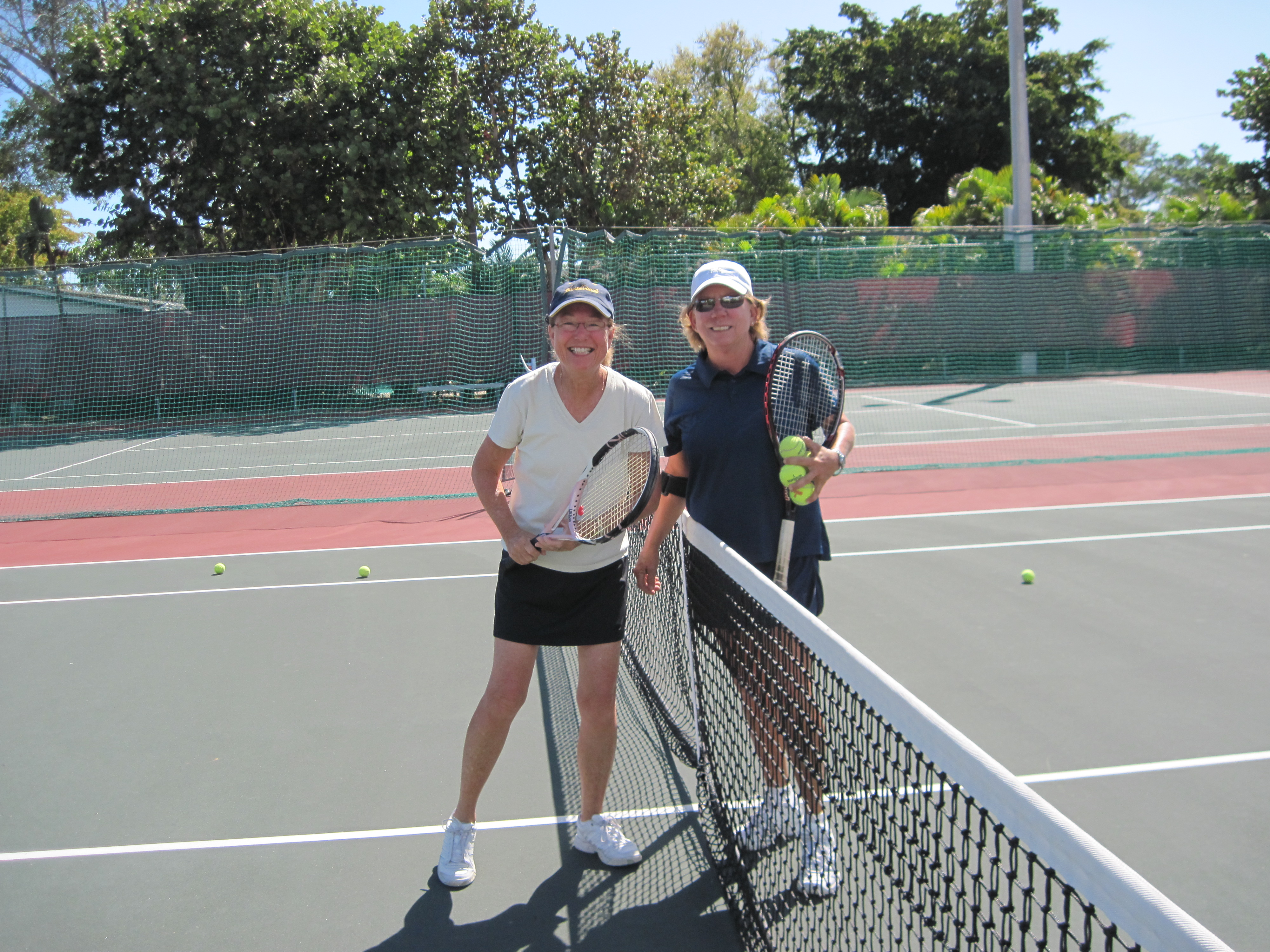 Picture of  ladies preparing to play tennis
