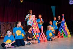 Photo of campers playing with speed stacking cups